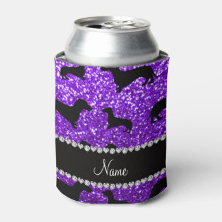 Personalized name indigo purple glitter dachshunds can cooler