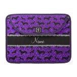 Personalized name indigo purple glitter dachshunds sleeve for MacBooks