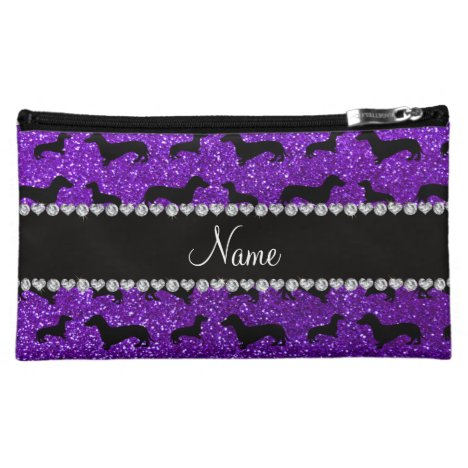 Personalized name indigo purple glitter dachshunds makeup bag