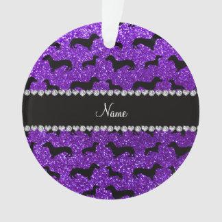 Personalized name indigo purple glitter dachshunds ornament