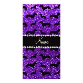 Personalized name indigo purple glitter dachshunds photo card