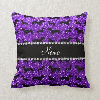 Personalized name indigo purple glitter dachshunds throw pillows