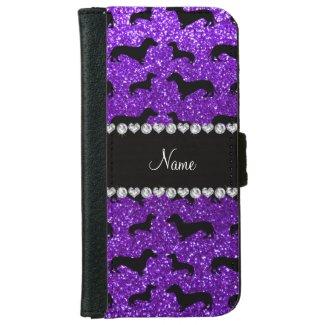 Personalized name indigo purple glitter dachshunds