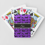 Personalized name indigo purple glitter dachshunds bicycle playing cards