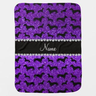 Personalized name indigo purple glitter dachshunds swaddle blanket