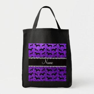 Personalized name indigo purple glitter dachshunds tote bag