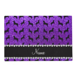 Personalized name indigo purple glitter dogs laminated place mat