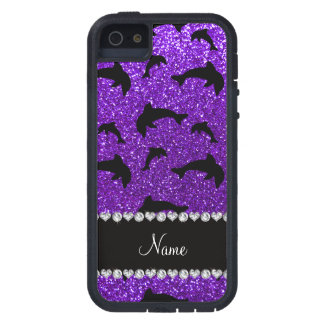 Personalized name indigo purple glitter dolphins iPhone 5 covers
