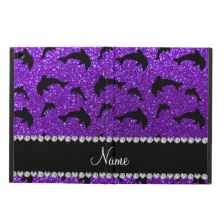 Personalized name indigo purple glitter dolphins iPad air cases