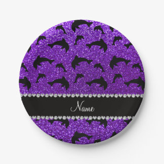Personalized name indigo purple glitter dolphins 7 inch paper plate