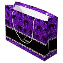 Personalized name indigo purple glitter elephants large gift bag