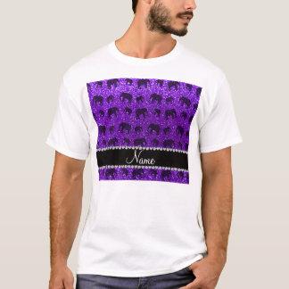 Personalized name indigo purple glitter elephants T-Shirt