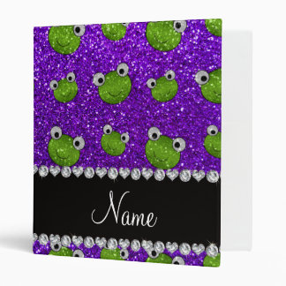 Personalized name indigo purple glitter frogs 3 ring binder