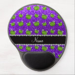 "Personalized name indigo purple glitter frogs gel mouse pad<br><div class=""desc"">Cute frog gift ideas. Modern, girly and trendy indigo purple green frogs glitter sparkles (FAUX NOT REAL GLITTER) pattern and bling black diamonds (not real diamonds) with hearts and dots stripe personalized with your name gifts or monogram gifts or your initials. Girly glitter gift ideas for birthdays and frog lovers....</div>"