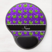 Personalized name indigo purple glitter frogs gel mouse pad