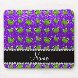 Personalized name indigo purple glitter frogs mouse pad