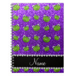 Personalized name indigo purple glitter frogs spiral note books