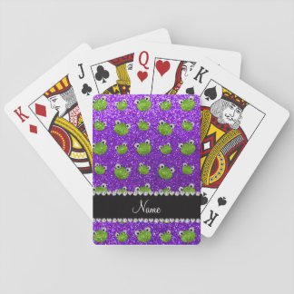 Personalized name indigo purple glitter frogs deck of cards