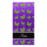 Personalized name indigo purple glitter frogs photo greeting card