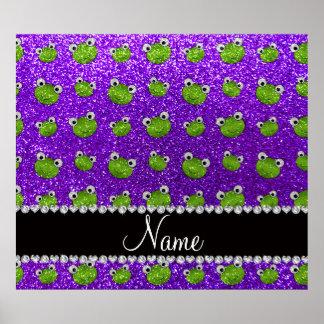 Personalized name indigo purple glitter frogs poster