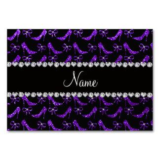 Personalized name indigo purple glitter high heels card