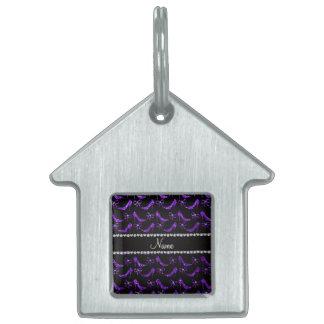 Personalized name indigo purple glitter high heels pet name tags