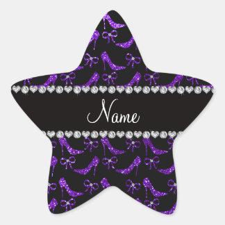 Personalized name indigo purple glitter high heels star sticker