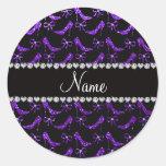 Personalized name indigo purple glitter high heels sticker