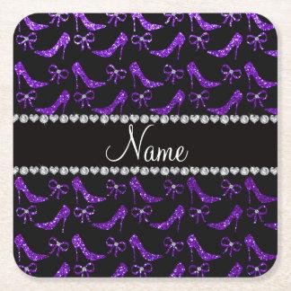 Personalized name indigo purple glitter high heels square paper coaster