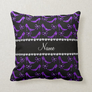 Personalized name indigo purple glitter high heels throw pillow
