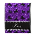 Personalized name indigo purple glitter horses iPad case