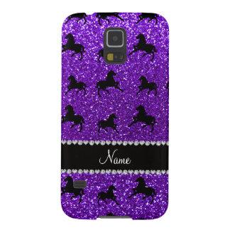 Personalized name indigo purple glitter horses galaxy s5 covers