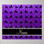 Personalized name indigo purple glitter horses poster