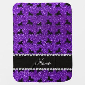 Personalized name indigo purple glitter horses receiving blanket