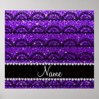 Personalized name indigo purple glitter lace print
