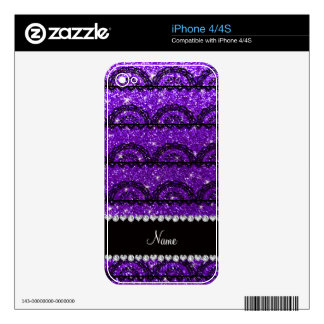 Personalized name indigo purple glitter lace iPhone 4 decal