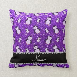 Personalized name indigo purple glitter penguins throw pillow