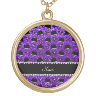 Personalized name indigo purple glitter purses bow round pendant necklace