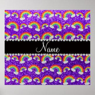 Personalized name indigo purple glitter rainbows posters