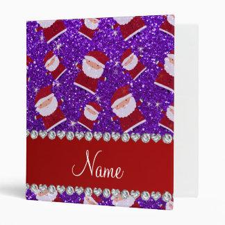 Personalized name indigo purple glitter santas vinyl binder