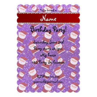 Personalized name indigo purple glitter santas 5x7 paper invitation card