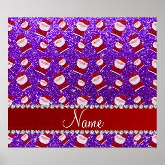Personalized name indigo purple glitter santas print