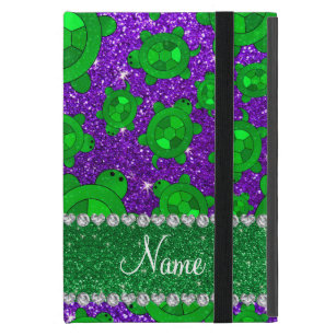Personalized name indigo purple glitter sea turtle cover for iPad mini