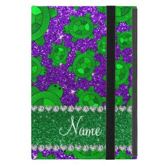 Personalized name indigo purple glitter sea turtle cover for iPad mini