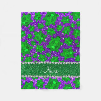 Personalized name indigo purple glitter sea turtle fleece blanket