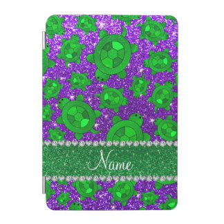 Personalized name indigo purple glitter sea turtle iPad mini cover
