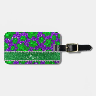 Personalized name indigo purple glitter sea turtle luggage tag