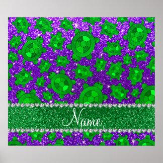 Personalized name indigo purple glitter sea turtle poster