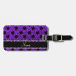 Personalized name indigo purple glitter shamrocks bag tags
