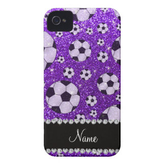 Personalized name indigo purple glitter soccer Case-Mate iPhone 4 case